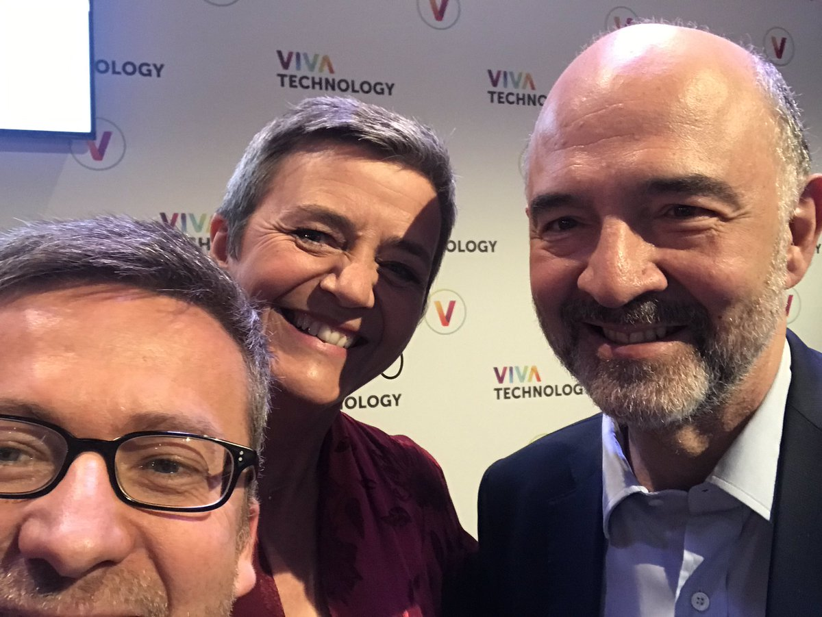 Loves to be at the @VivaTech with my great friends and colleagues @Moedas and @pierremoscovici - #innovation in #FutureofEurope :#MakingItHappen is a team effort! So many impressive businesses showing the vibrant, dynamic European ecosystem!