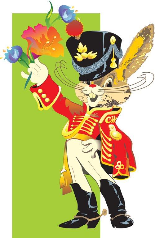 Открытка, открытка заяц гусар с букетом цветов