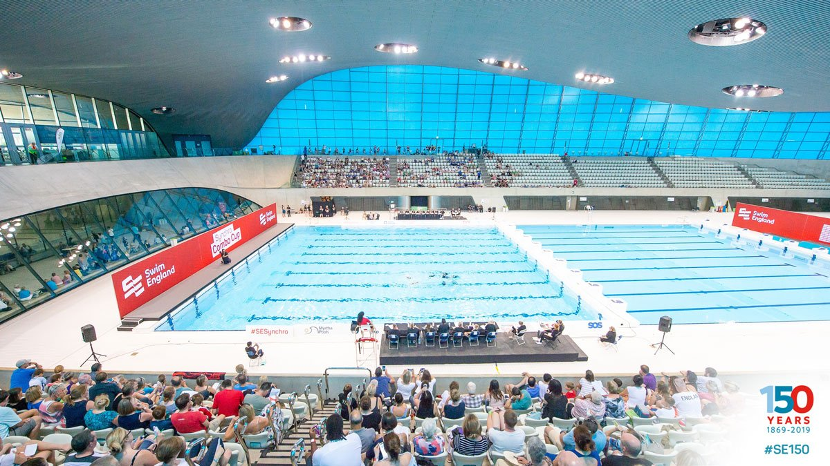 #DailySwimmingFact: The London @AquaticsCentre, host of the @fina1908 Diving World Series final leg this weekend, has three pools and they hold around 10 million litres (2.6 million gallons) of water in total #SE150