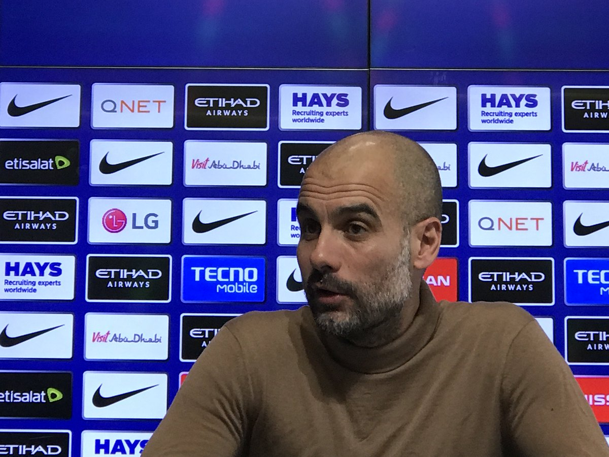 """Reporter: """"Tomorrow you've got the prospect of winning the first ever domestic treble in this country. How much does that excite you?""""  Pep Guardiola: """"The first time in men's football. The women have done it."""" #ManCity"""