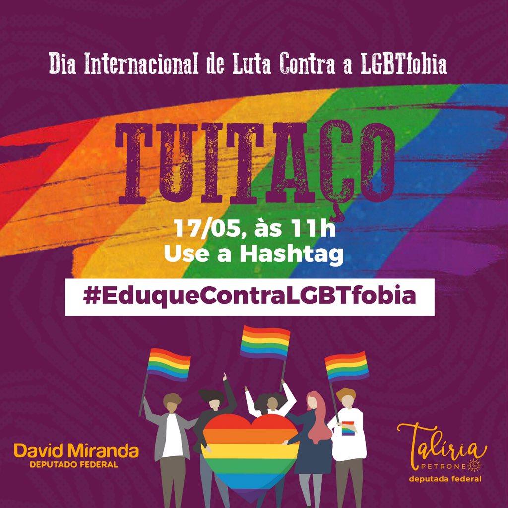 Hoje é Dia Internacional de Luta contra a LGBTfobia. E queremos falar de educação e respeito à diversidade. Junto com o mandato de @taliriapetrone , realizaremos um tuitaço logo mais às 11h. Cola na gente e use a hashtag #EduqueContraLGBTfobia