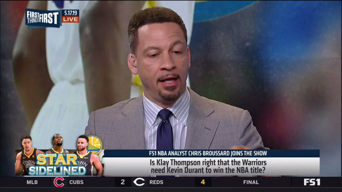 """Even without Kevin Durant, the Warriors can win this title."" — @Chris_Broussard"