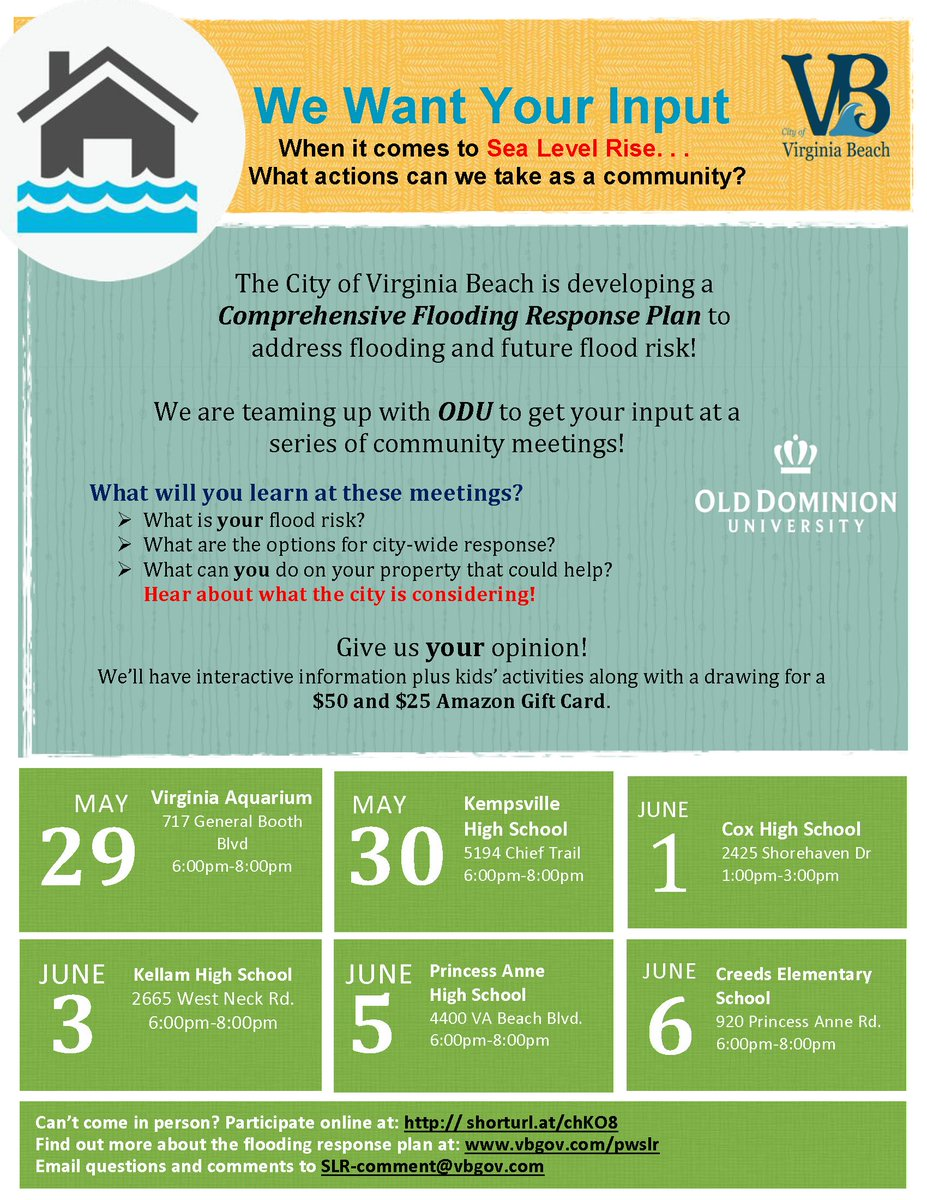 The City Is hosting a series of Sea Level Rise public meetings beginning May 29. Determine your flood risk, discuss the City's response options, and learn what you can do to help protect your property.​ t2m.io/uPLHFCDh #flooding #SLR #SeaLevelRise