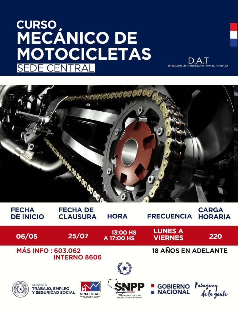 📢📢📢 Aún tenemos lugares para participar del curso de Mecánica de motocicletas que ofrecemos en nuestra de Asunción👩🏿🔧🛵🏍👨🏻🔧  ✔Registrate en nuestro sistema de #IdentidadSNPP ingresando a 👉🏽 🔗 https://goo.gl/giiqhn y anotate !  #ParaguayDeLaGente🇵🇾
