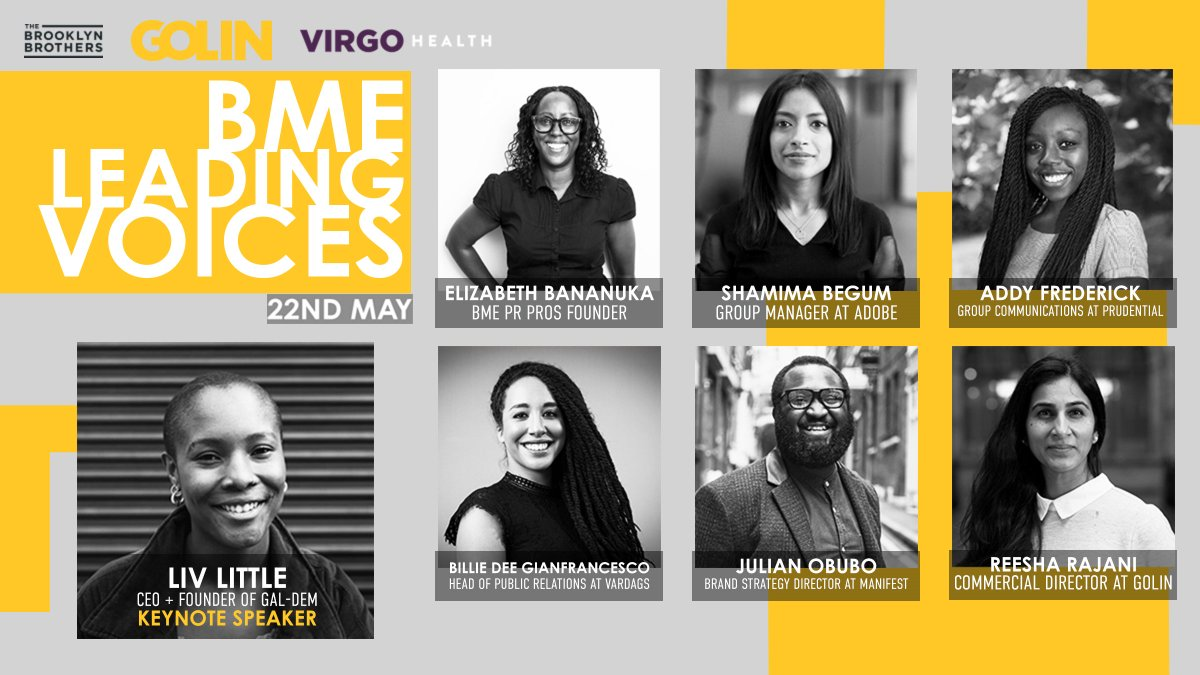 Looking forward to the inspiring stories and fresh perspectives from our amazing speaker line-up at Golin's #BMELeadingVoices event next week.  @livlittle @ebananuka @BegumShamima1 @Addy_Frederick @JulianObubo @reesha_rajani