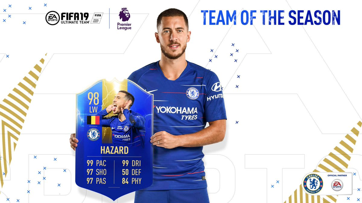 The pace, dribbling, shooting! The ratings are !@HazardEden10 has made the @EASPORTSFIFA Team of the Season! #TOTS #CFC
