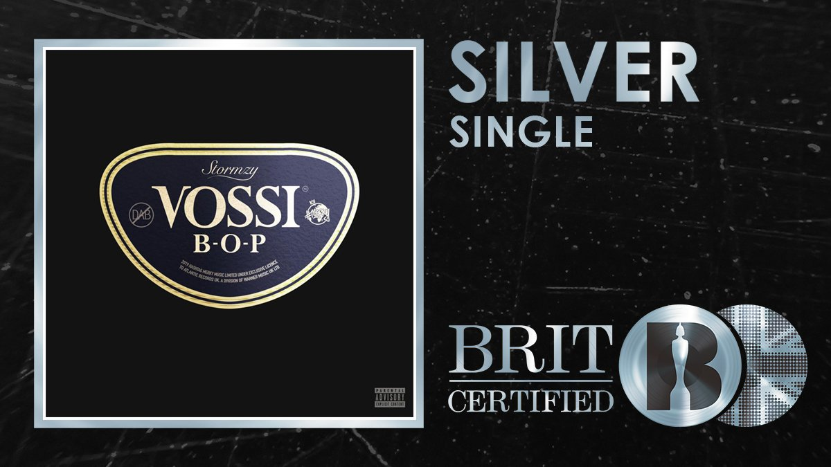 🙌 Big congrats to @stormzy, his No. 1⃣ single Vossi Bop is #BRITcertified Silver! 🇬🇧💿