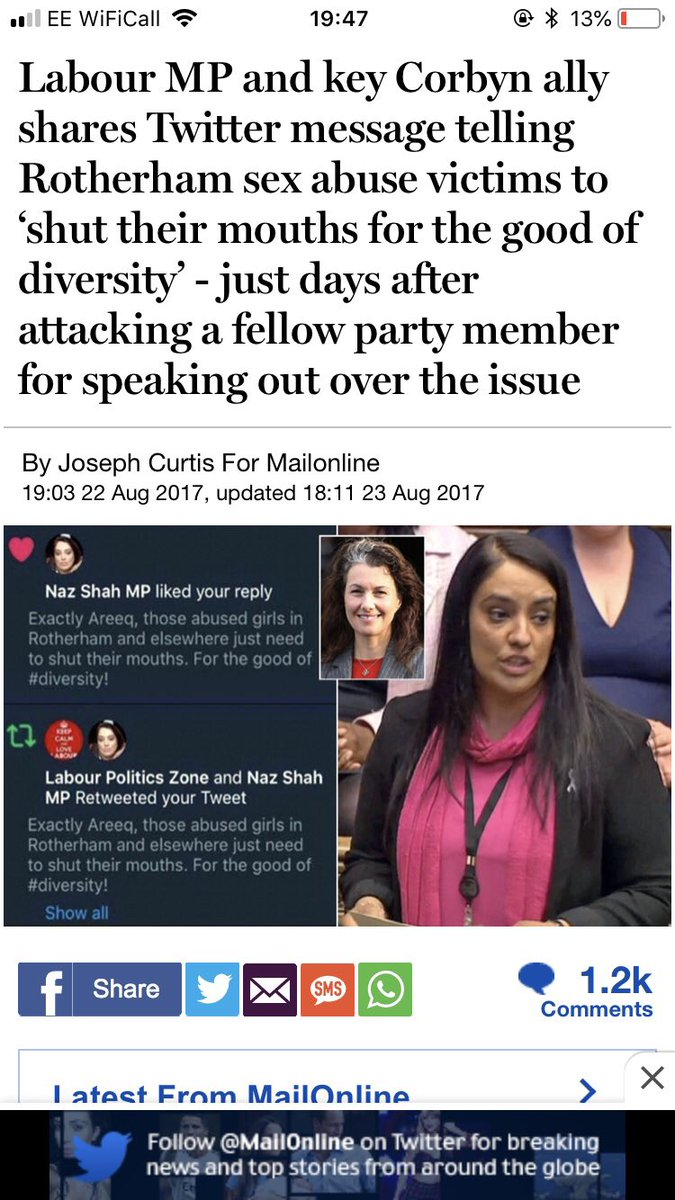 @Holbornlolz Naz Shah promoted by Corbyn to Labour Party Shadow Minister for Women and Equalities after liking this vile tweet replaced Sarah Champion sacked for criticising the RoP rape squads Previously suspended from the party for antisemitism plays the victim card