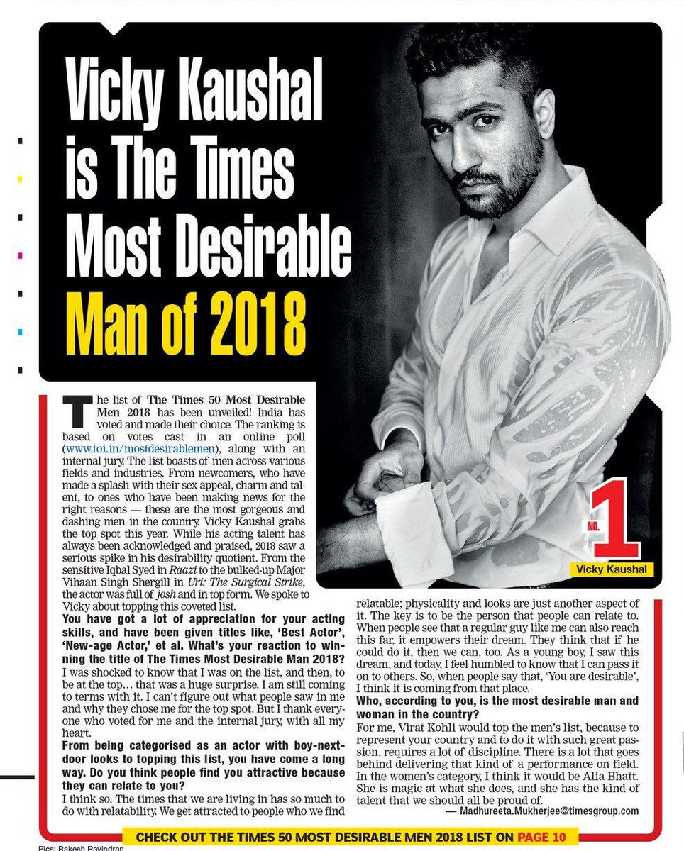 'Most Desirable Man 2018'. Thank You @timesofindia and everyone who voted. 🤗