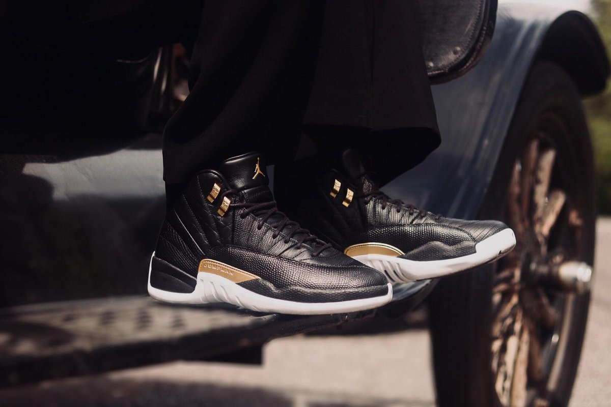 bd6263eef92 The Women's Retro 12 'Black/Metallic Gold' drops in select stores & online  today! #Hibbett Boss Up | https://bit.ly/2Jx5ErK pic.twitter.com/4QJCLqgyyM