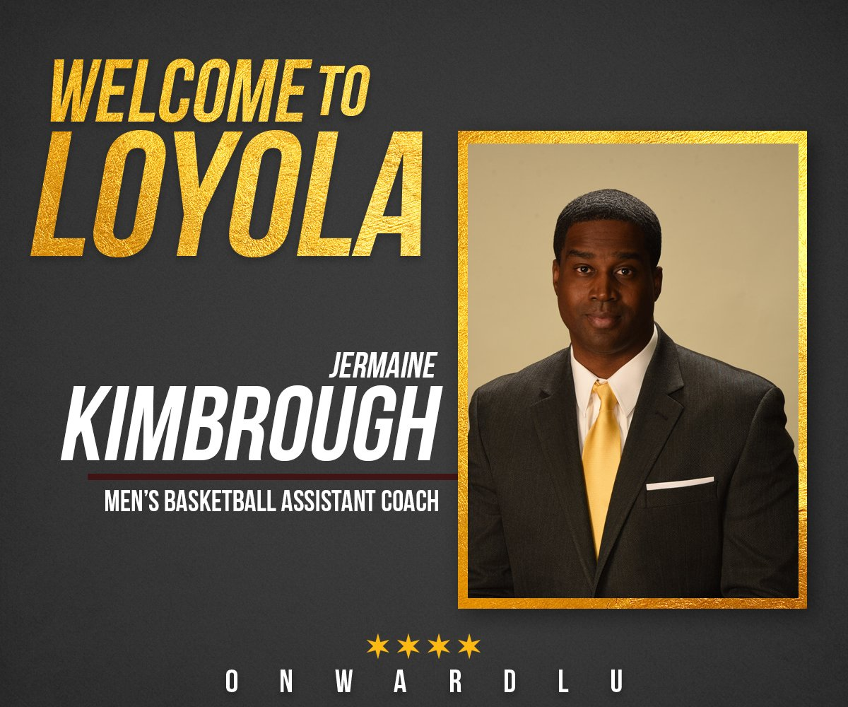 Join us in offering up a warm #Rambler welcome to new #Loyola assistant coach @jermainekimbrou! https://loyolaramblers.com/news/2019/5/17/jermaine-kimbrough-named-loyola-mens-basketball-assistant-coach.aspx … #OnwardLU #MVCHoops