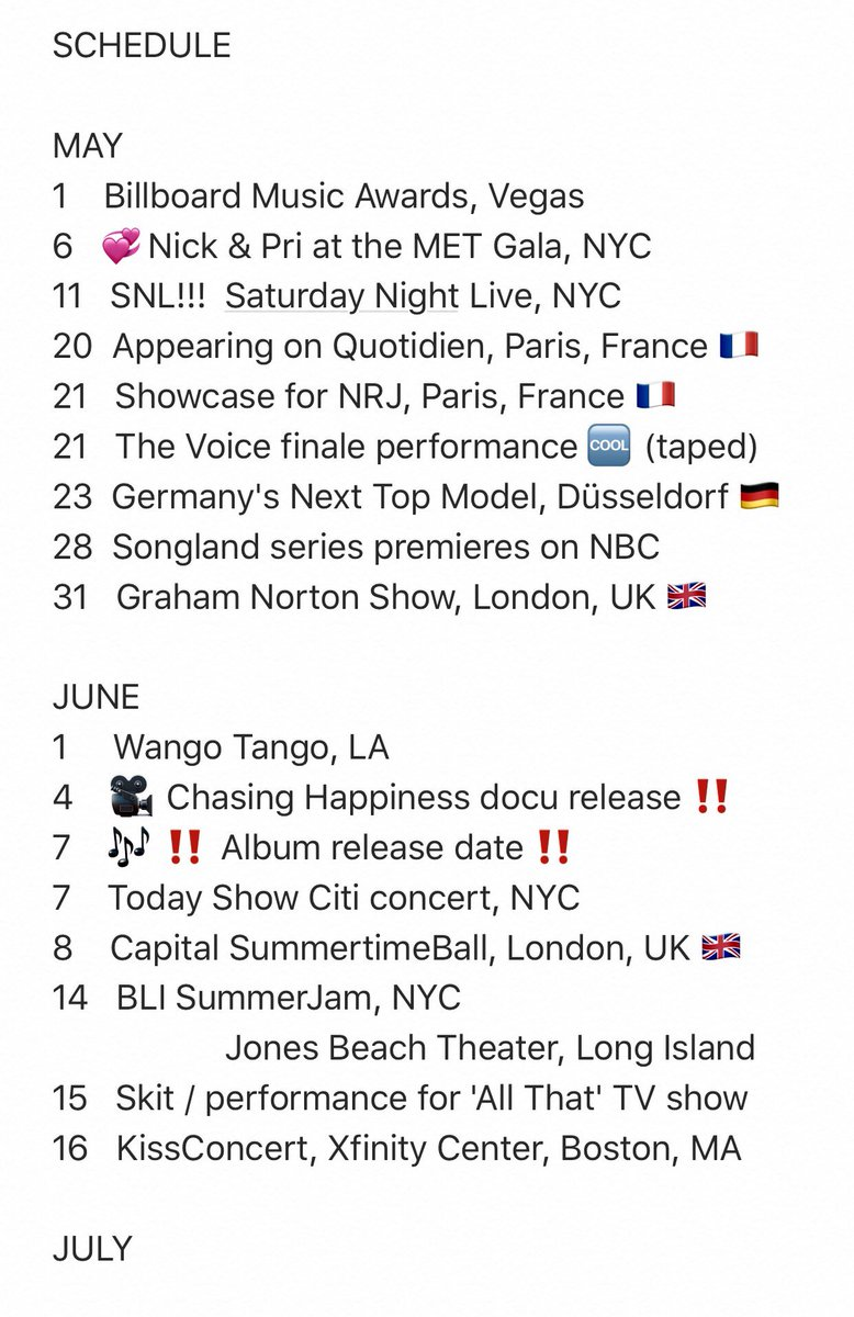 NICK&#39;S  SCHEDULE    (mainly #JonasBrothers gigs)  #HappinessBeginsTour : 67 dates  Documentary release date : 4th June  #ChasingHappiness   Album release date :  7th  June  #HappinessBegins    UPDATE  #GNTM 23 May #GNshow 31 May #JonasBrothersTODAY 7 June<br>http://pic.twitter.com/WnTraplU0H