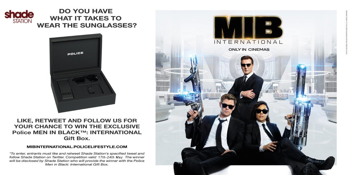 Ahead of the new #MIBInternational film release, we&#39;re giving you the chance to #win a Limited Edition Police Men In Black gift set! Just follow, like &amp; RT to be in with a chance. #Competition ends 24th May! For an extra entry:  http:// bit.ly/shade-group  &nbsp;   #FreebieFriday <br>http://pic.twitter.com/iUv5NRzFB5