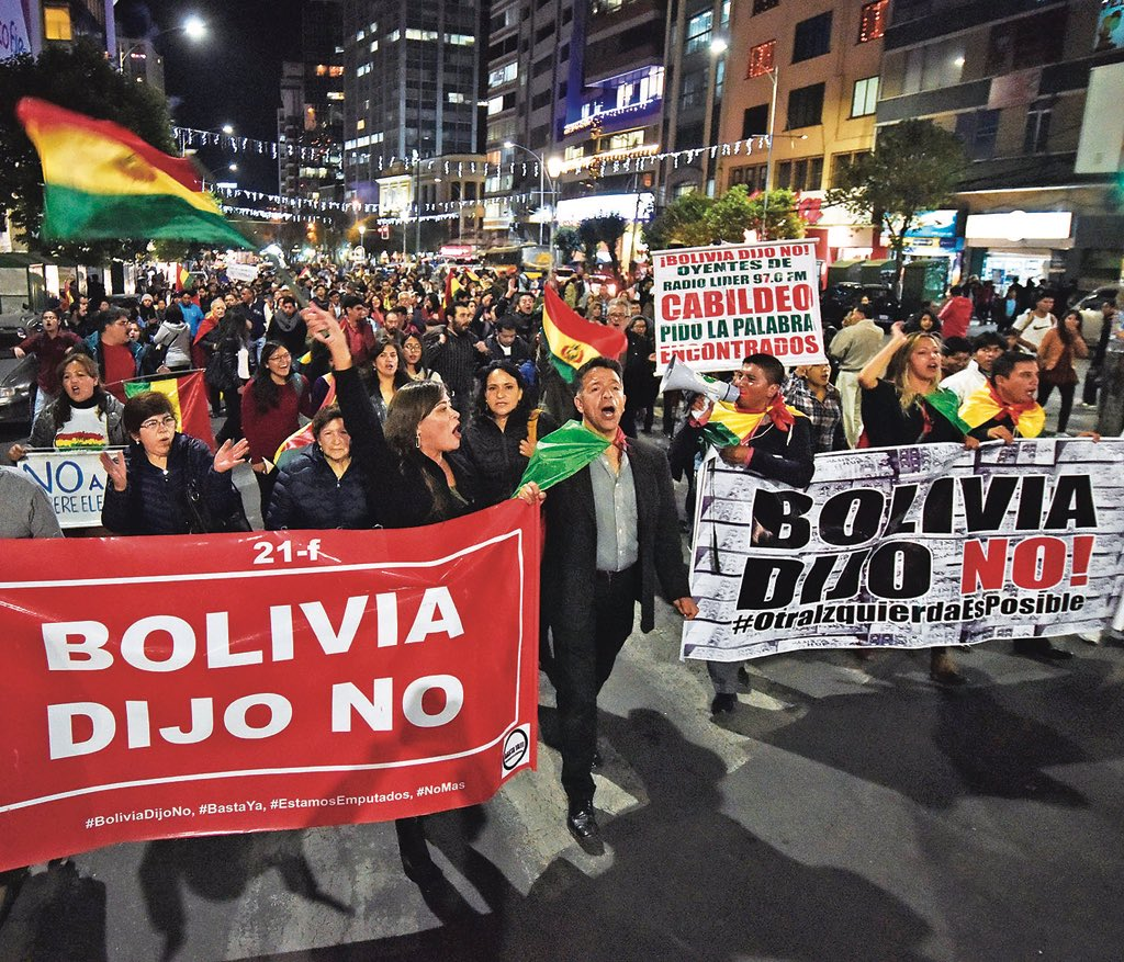 In 2016, President Morales of #Bolivia called for a referendum to extend term limits so he could seek election again. At the ballot box, the people said NO. Regardless, he intends to run. We commend those defending the rule of law in Bolivia & remind the government #BoliviaDijoNO