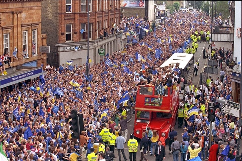 "Parading the FA Cup around in the 1996/1997 season. Not bad for a club formed in 2003. ""Where were you when you were sh*t"" Up the Chels #CFC"