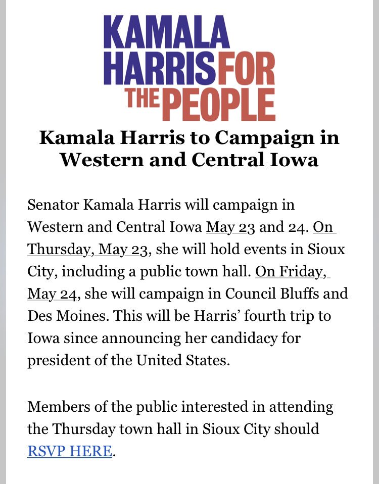 Inbox: @KamalaHarris will be in Iowa next week, w/ stops in Sioux City, Council Bluffs + Des Moines. This is her fourth Iowa trip since announcing 2020 bid. News release says she'll highlight teacher pay proposal + her plans to address climate change and student debt. #iacaucus