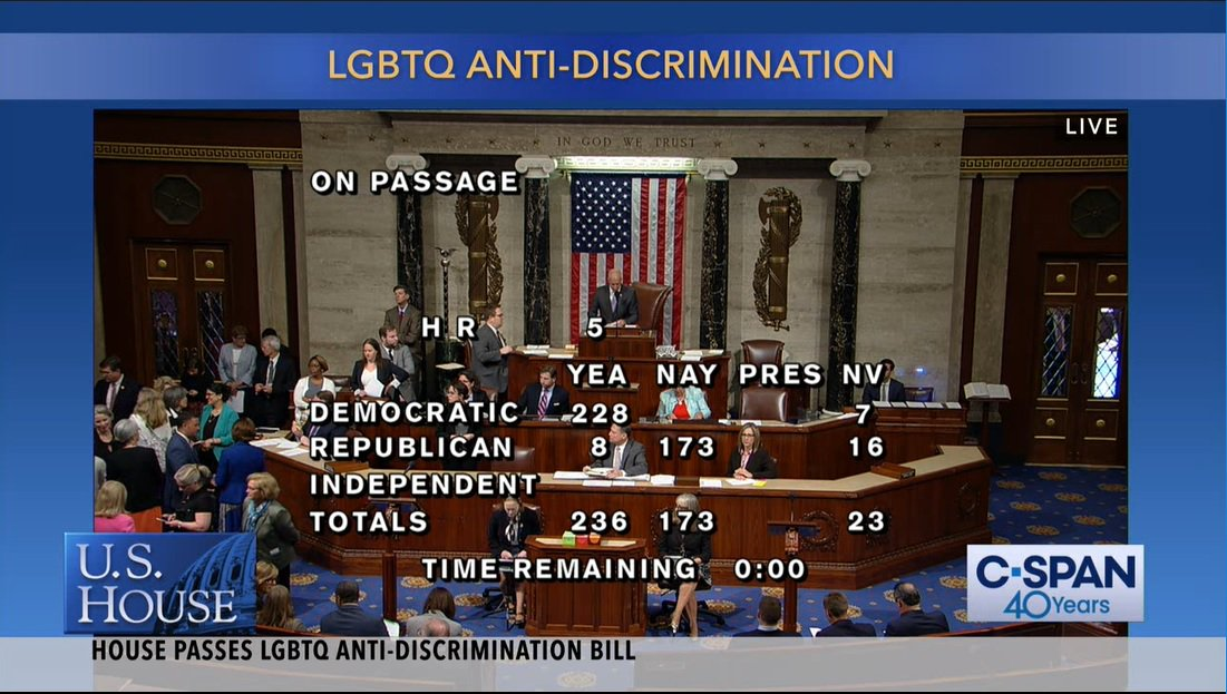Today is a historic, monumental day in Congress. For the first time, we have passed comprehensive legislation that would extend federal civil rights protections to the LGBT community.