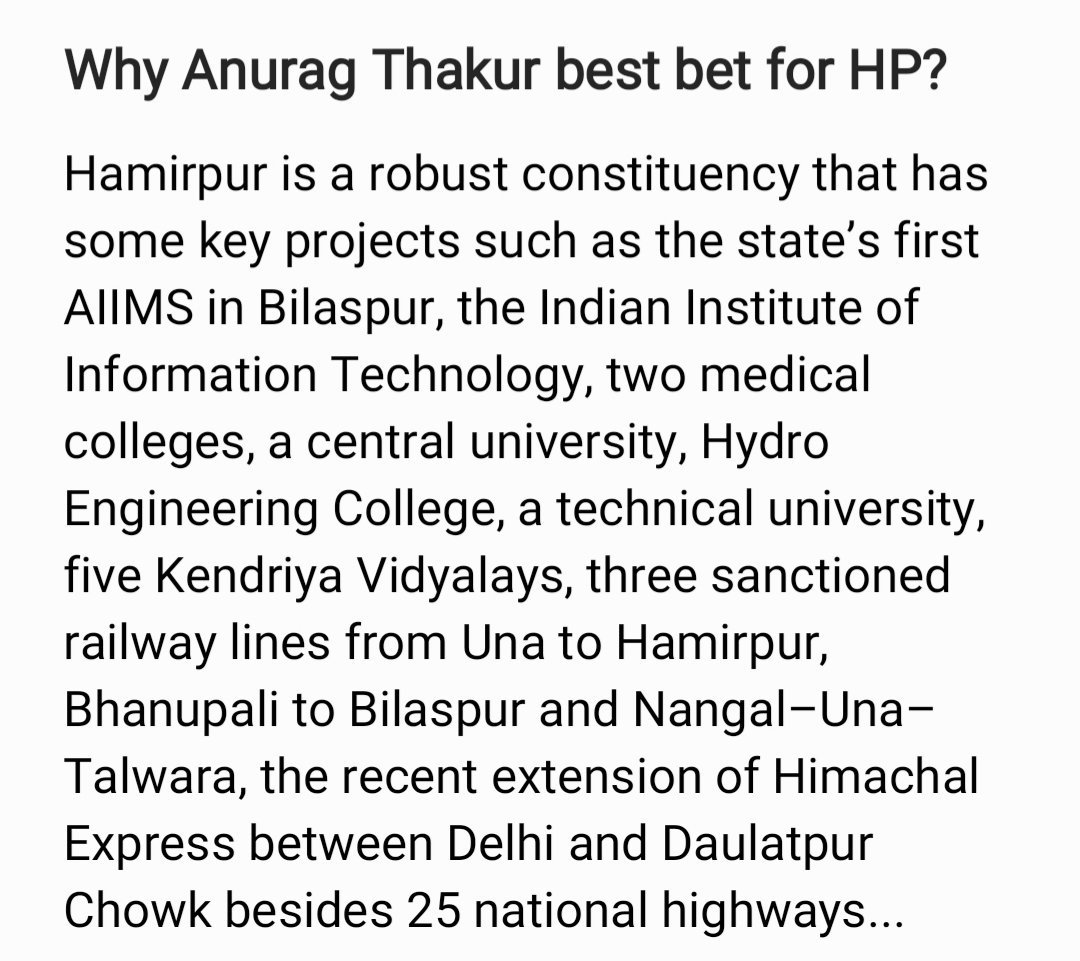 @ianuragthakur seeking his 4th term which would be as crucial for the completion of development projects initiated by him over his tenure as an MP for Hamirpur. This time around he will be given a bigger role in Govt. His ample work done without any prejudice speak for himself..