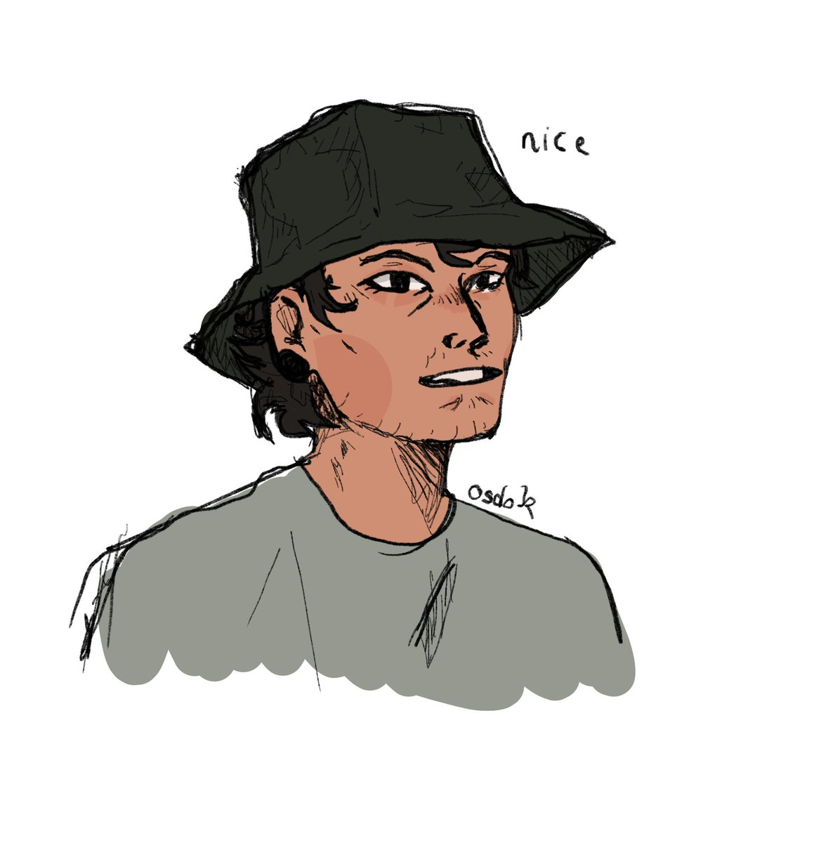 Os On Twitter I Tried To Draw Bucket Hat Josh With My Left Hand Key Word Is I Tried