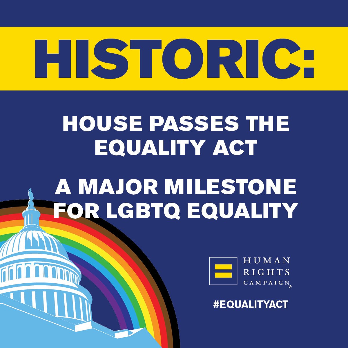 LGBTQ people like me are still at risk of being... ❌fired ❌evicted ❌denied services ...because of who we are. With House passage, it's time for @senatemajldr to call a vote on the #EqualityAct and protect LGBTQ people from discrimination. hrc.org/EqualityAct
