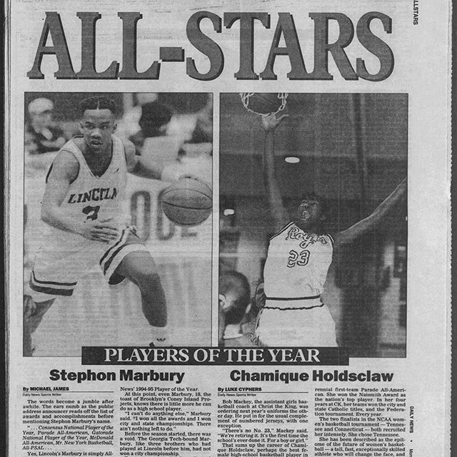 #fbf #repost @daves__joint ・・・ #Flashback April 10th, 1995. Both @starburymarbury and @chold1 had New York City and the nation on lock when they were in high school. It was only right that they were chosen as boys and girls Player of the Year during … http://bit.ly/2HALgmS