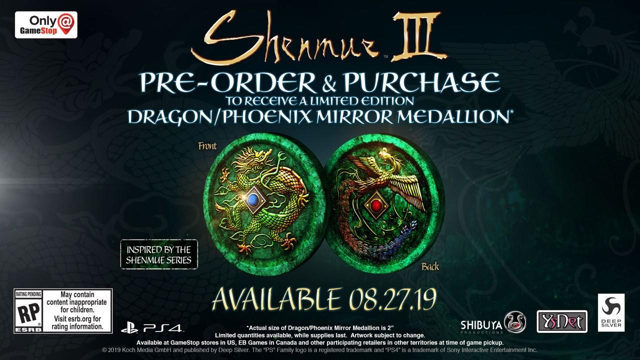 Wario64 On Twitter Shenmue Iii Preorders At Gamestop Get A Limited Edition 2 Dragon Phoenix Mirror Medallion Https T Co Qmoiapmrwj