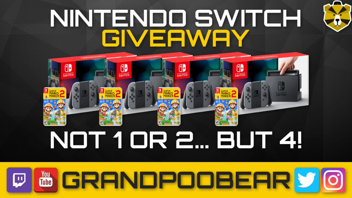 To celebrate Mario Maker 2 release, I am giving away 4 Nintendo Switch consoles plus a copy of Mario Maker 2! Tons of ways to enter including giving this tweet a like and RT gleam.io/Nhcvm/4-ninten…