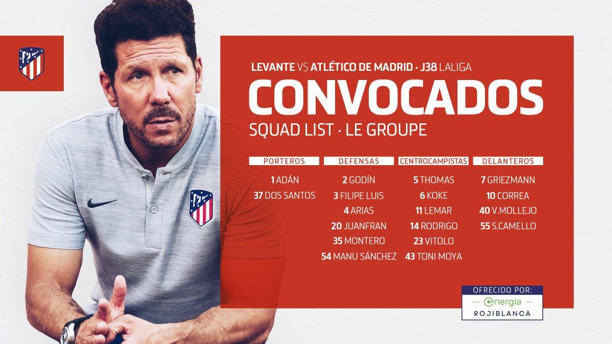 D6yQKKqXYAAn4LY Simeone convoca a 18 jugadores para jugar ante el Levante - Comunio-Biwenger
