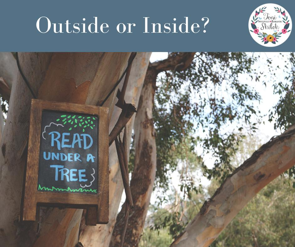 With the weather warming up I&#39;m curious. Do you like to read outside or inside? Bonus points for sharing a pic your favorite reading place. #tonishilohquestions #fridayreads <br>http://pic.twitter.com/zKonaiwRbl