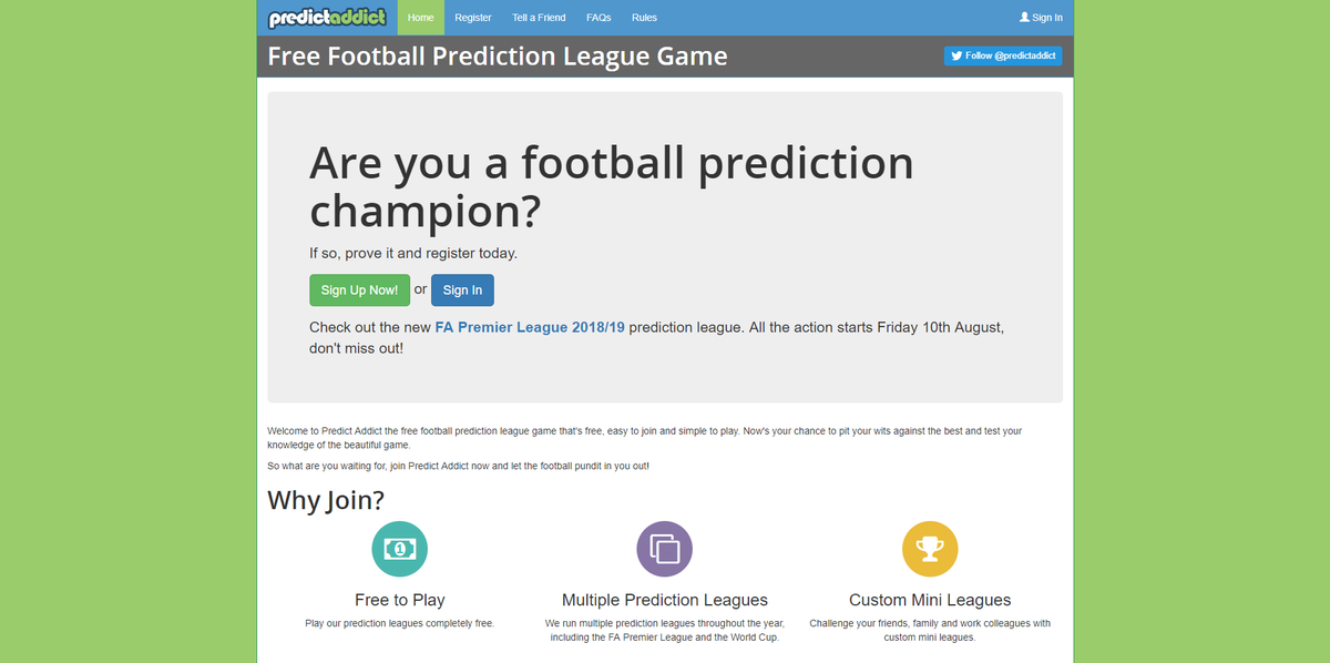Predict Addict - Footy Prediction Game (@predictaddict) | Twitter