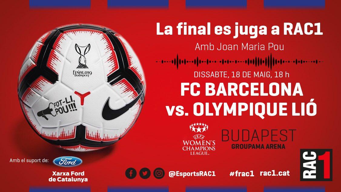 💥Aquest dissabte, la final es juga a @rac1 amb @Fotlipou! Menys de 24 hores per viure en directe la primera final europea del @FCBfemeni! 💪🐍 @EsportsRAC1 no sho perdrà! Tu?