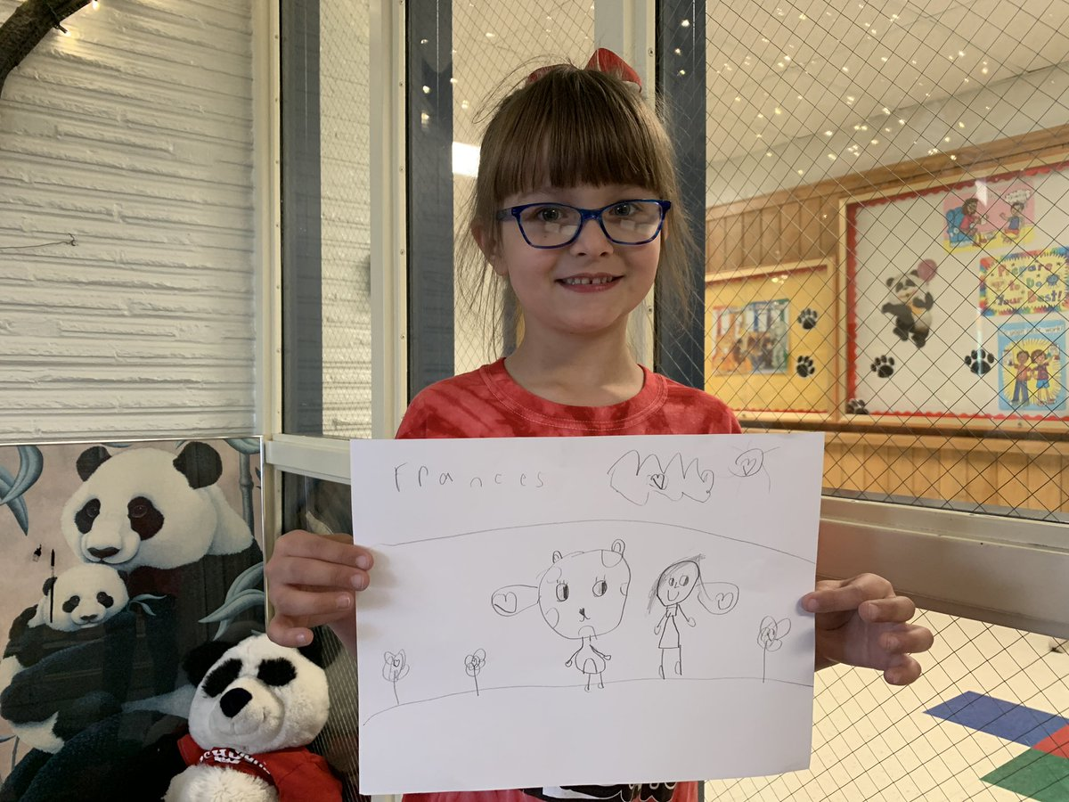 Special friend visited me today to give me her drawing of me and our school panda! Love how I look in her drawing! 🥰 #WBPandas #WeAreD34
