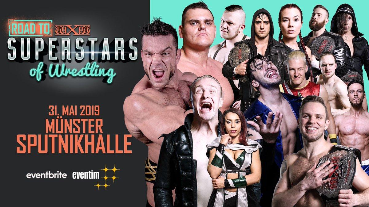 #wXwRoadtoSoW May 31st Münster feat. Impact World Champion @MrGMSI_BCage vs. @NXTUK Superstar @UNBESIEGBAR_ZAR, @WirSindRISE vs. Aussie Open and more. Tickets: https://www.eventbrite.de/e/wxw-wrestling-road-to-superstars-of-wrestling-munster-tickets-52899382477…