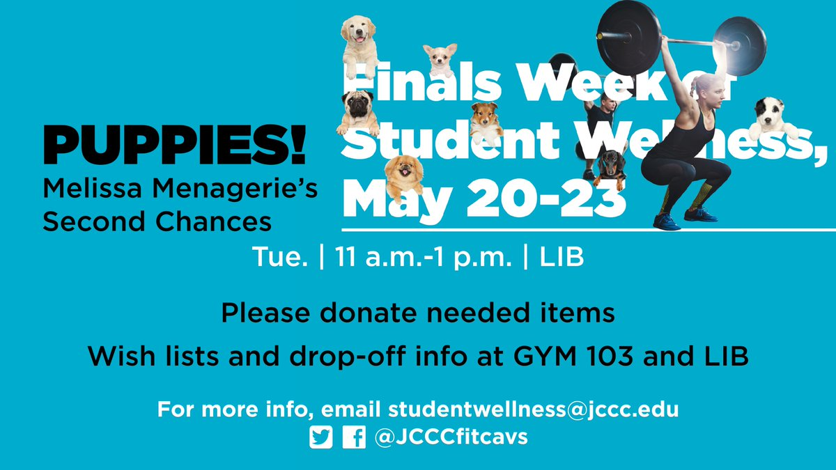 Puppies are coming back for finals week! Tuesday May 21 11-1 #socute #stressrelief<br>http://pic.twitter.com/vJpXlSAxgo