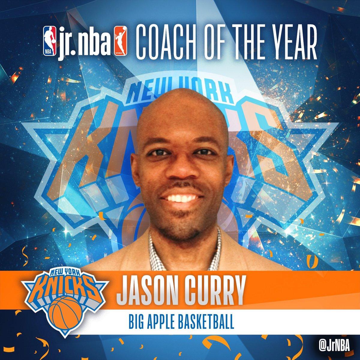 CONGRATULATIONS to #BAB🏀coach #JasonCurry on winning the 2019 @jrnba #JrNBACOY • The award was presented by @dallasmavs Head Coach, #RickCarlisle , @espn announcer @franfraschilla & #NYKnicks legend @ALLAN_HOUSTON • @jasoncurry_nyc @juniorknicks @nyknicks