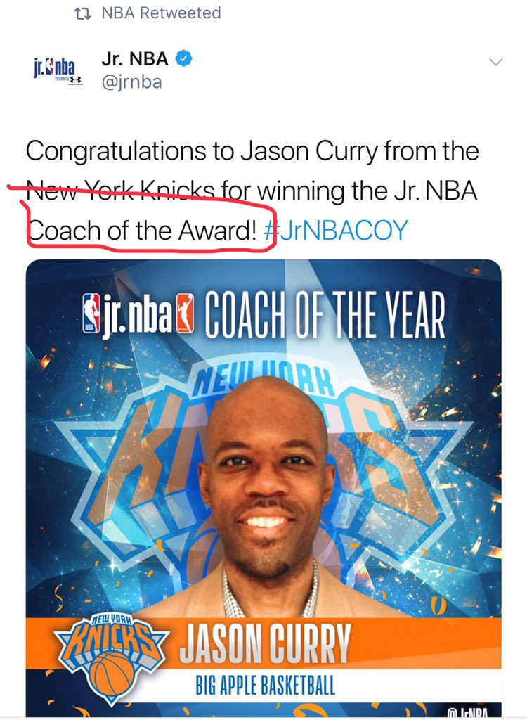 @jrnba @NBA @PositiveCoachUS @juniorknicks @nyknicks @bigapplebball Please make some effort to correct this typo. You missed the Coach bruh! 😂😂 https://t.co/2r3RFNfopt