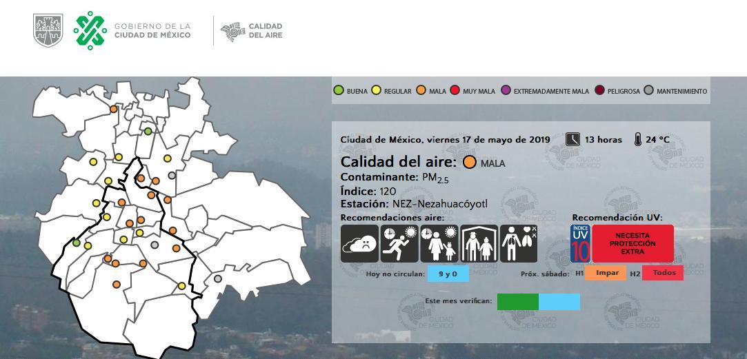 Calidad del aire hasta las 13 hrs. #AsíLasCosasConLoret @WRADIOMexico
