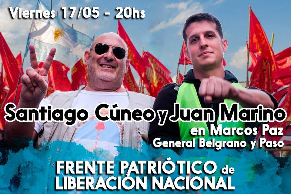 Hoy vamos a estar con @SantiagoCuneo presentando el Frente Patriótico de Liberación Nacional en Marcos. Vamos por la libertad de @JulioDeVido, @Luis_Delia y todxs lxs presxs políticxs. Vamos por la derrota electoral de Macri y Vidal. Vamos por el no pago de la deuda macrista.