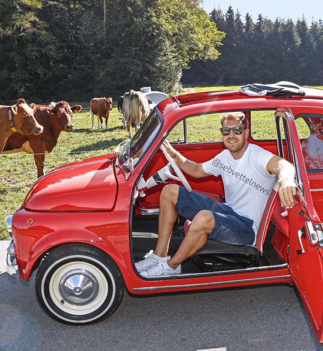 Sebastian Vettel with his vintage red Fiat 500 🚗   #Seb5 #F1