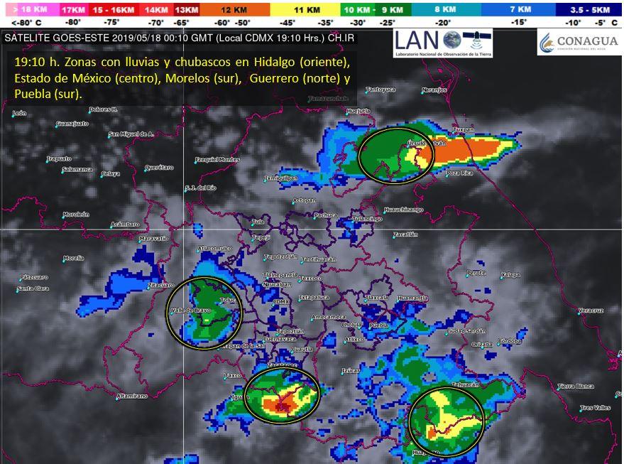 Habrá #Chubascos en las próximas horas en zonas del centro del país  y el norte de #Guerrero