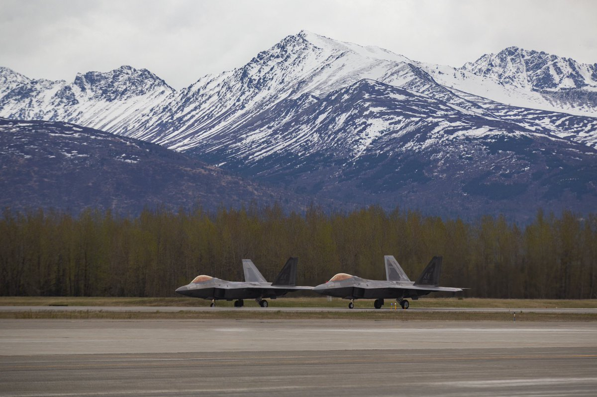 In December of 2018 Joint Base Elmendorf-Richardson received six additional F-22s from Tyndall Air Force Base's 95th Fighter Squadron, as part of the immediate post-Hurricane Michael temporary plan. Recently, the Air Force proposed to make that decision permanent. <br>http://pic.twitter.com/6ZiePuModV