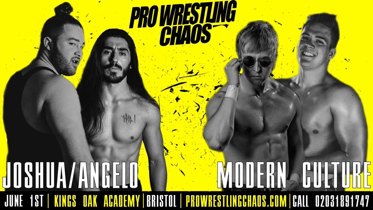 .@chaos_wrestling announcement. @dannyjoneswres returned to Chaos at the last show and stole it with @Cara_Noir. @Jay_joshua95 smashed it against The Boar too. @NicoAngelo19 is debuting and is mental talented and @Flash_Morgan is Flash. This will rule. You're welcome Chaos!