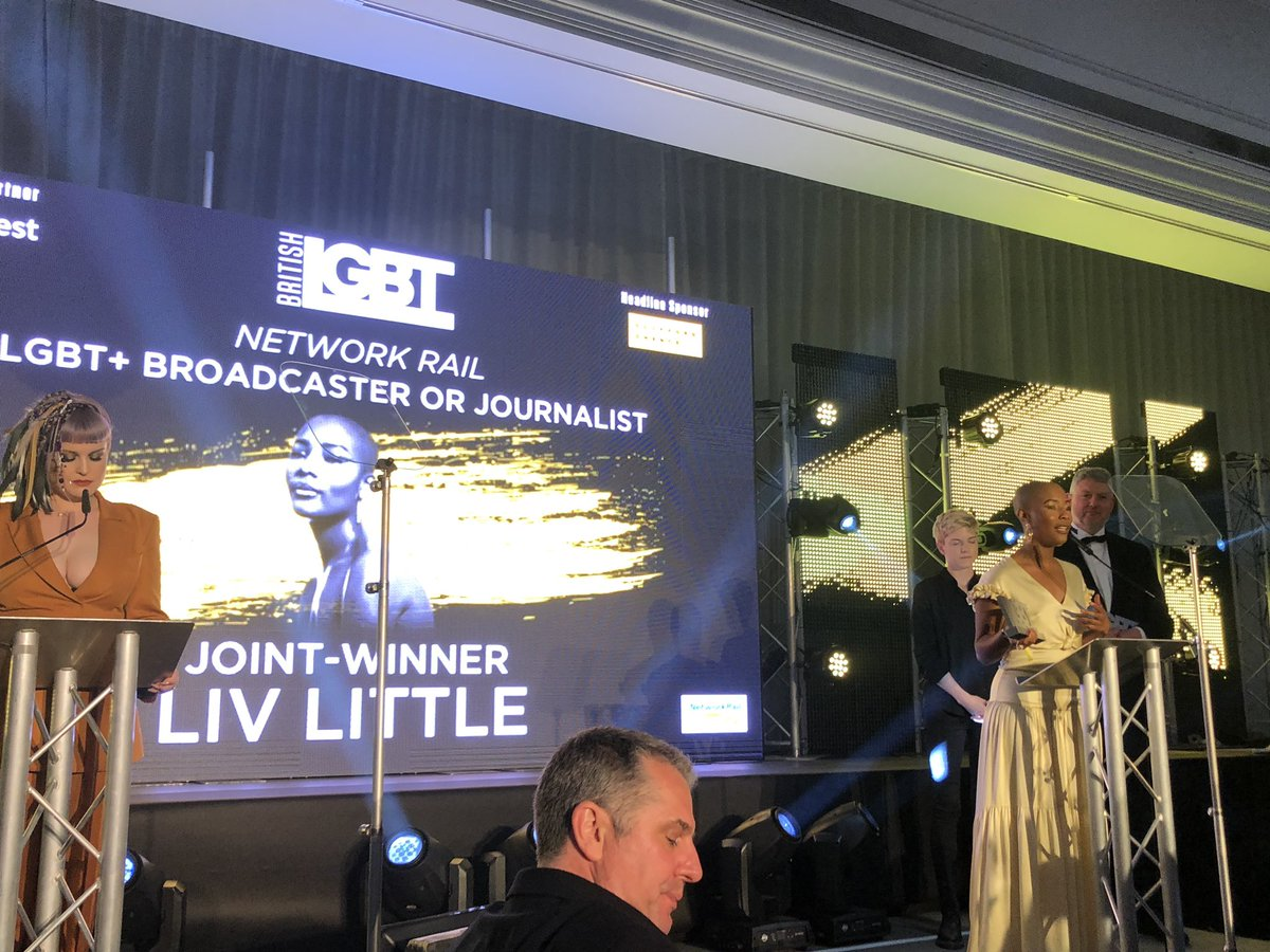 Two amazing joint winners of #LGBT broadcaster/journalist of the year @BritLGBTAwards - @livlittle & @AnnaRichardso - amazing powerful women 💪🏾🌈 #BritishLGBTAwards – at London Marriott Hotel Grosvenor Square