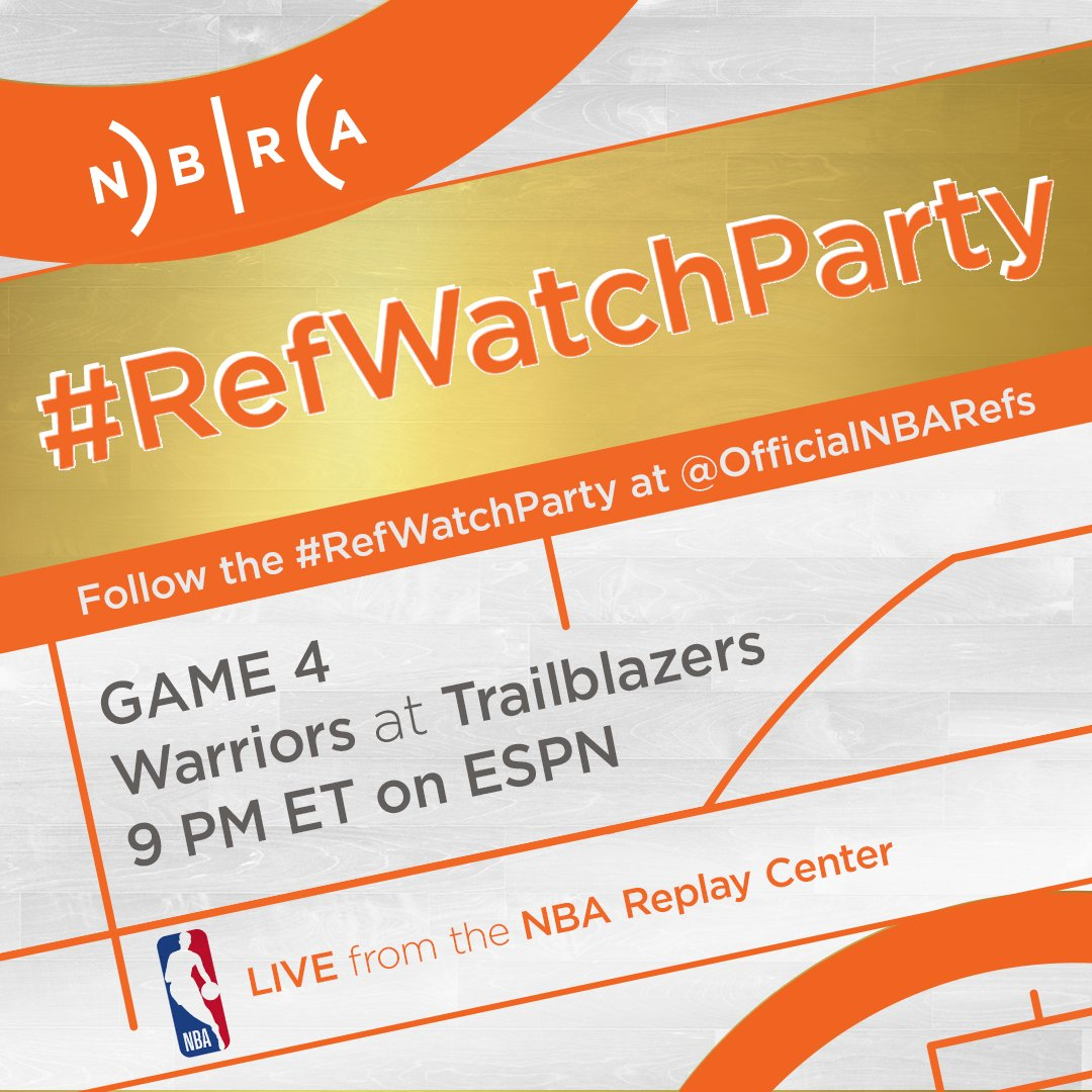 .@OfficialNBARefs NBA Conference Finals #RefWatchParty is coming. Starting with Monday's West Finals Game 4, follow along + tweet us your questions for the only second-screen experience of its kind.  Monday May 20 - 9pmET @ESPNNBA - @warriors at @trailblazers.