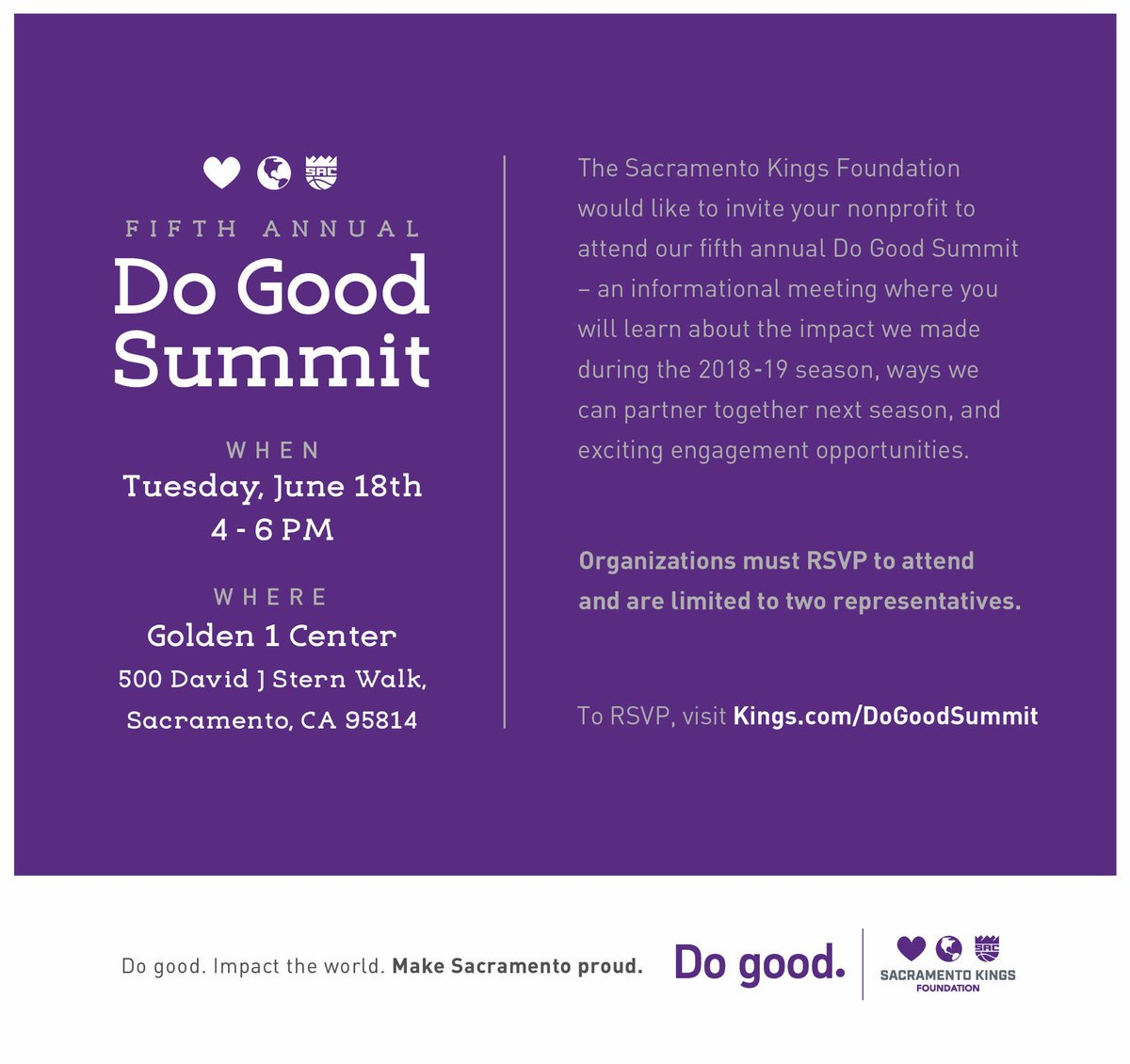 Hey, nonprofit friends! Join us on June 18th to learn about how we can #dogood together during the upcoming 2019-2020 season! RSVP here: http://Kings.com/DoGoodSummit