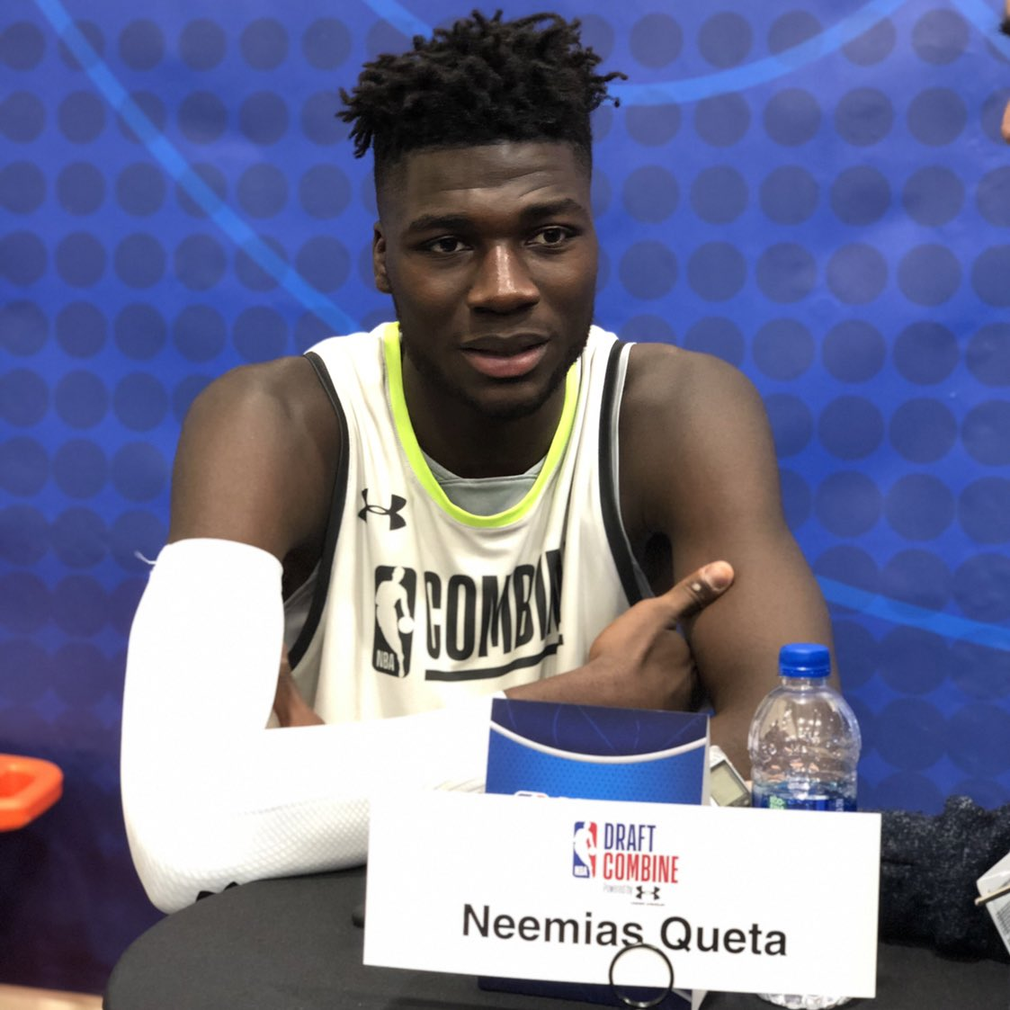 Neemias Queta (@nemi1599) of @USUBasketball talks to media postgame!