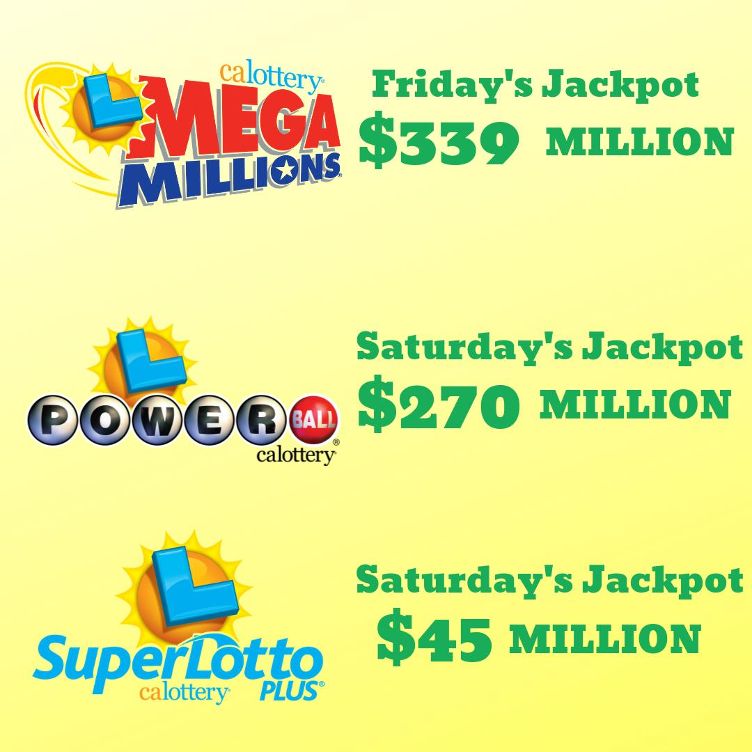 BIG jackpots up for grabs this weekend! #powerball #megamillions #superlottoplus #calottery