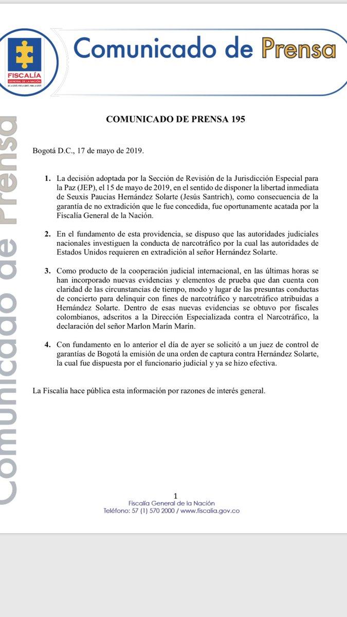 """La fiscalía y sus argumentos. Nueva captura a Santrich estaría basada en """" nuevas evidencias y elementos de prueba... concierto para delinquir con fines de narcotráfico"""""""
