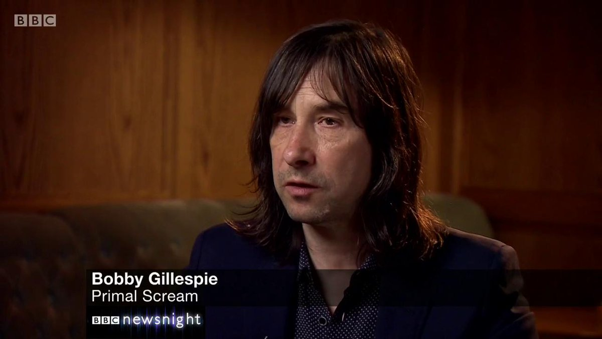 """I either would have died or something really bad would have happened to me.""  Primal Scream frontman Bobby Gillespie says his wife helped him through his problems with drugs    #newsnight 