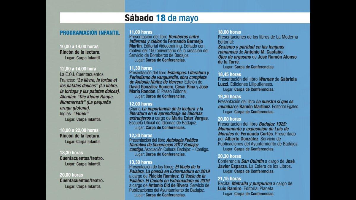 #FERIADELLIBRO #38FLB  Programación sábado 18 de mayo #FLB2019 #Badajoz https://t.co/zNrR1X56ef